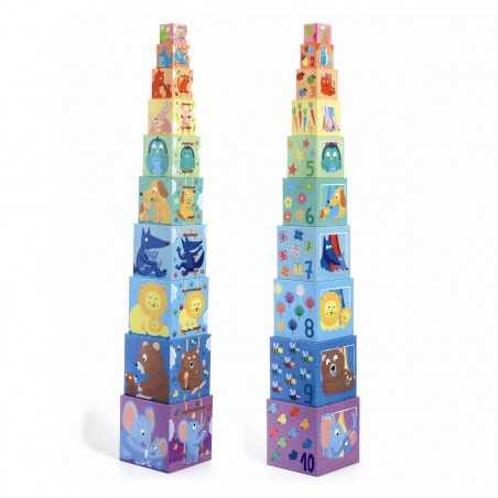 10 CUBI set di cubotti DJECO in cartone robusto ARCOBALENO impilabili DJ08510 età 12 mesi + Djeco - 1