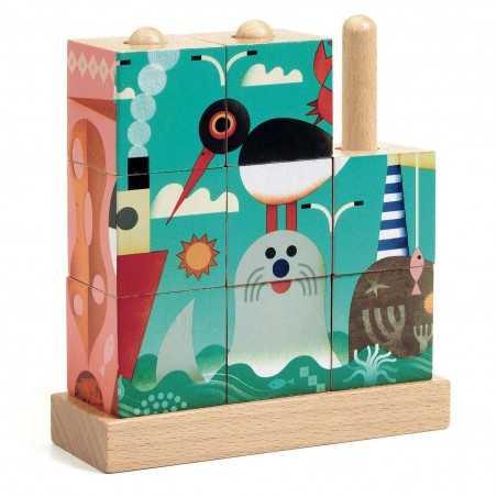 PUZZ UP SEA gioco di incastri in legno a tema mare 4 PUZZLE 9 pezzi DJECO DJ01913 età 3+ Djeco - 1