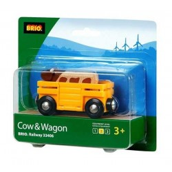 TRASPORTO BESTIAME in legno treni BRIO trenino 33406 COW AND WAGON