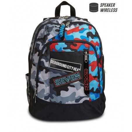 ZAINO ADVANCED seven CHALLENGE BOY backpack CAMO ROSSO E BLU scuola CON SPEAKER WIRELESS SEVEN - 1