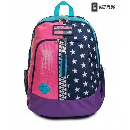 ZAINO ADVANCED seven PINKING BLUE backpack PAILLETTES E STELLE scuola CON USB PLUG LATERALE SEVEN - 1