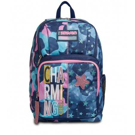ZAINO POINT OUT seven CHARMING GIRL backpack CAMO BLU E STELLE scuola 35 LITRI SEVEN - 1