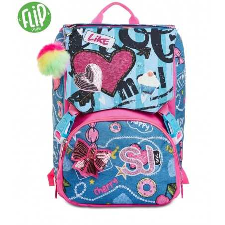 ZAINO SDOPPIABILE seven JUST DENIM GIRL backpack SJ GANG scuola 28 LITRI flip system SEVEN - 1