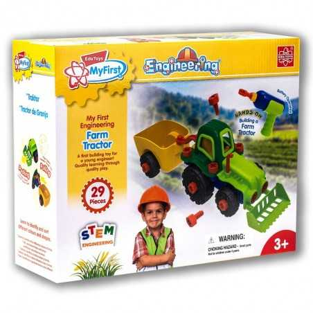TRATTORE ingegnere jr EDUTOYS my first ENGINEERING farm tractor CON TRAPANO età 3+ EDU-TOYS - 1