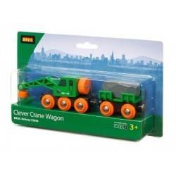 VAGONE CON GRU treni in legno BRIO trenino 33698 CLEVER CRANE WAGON