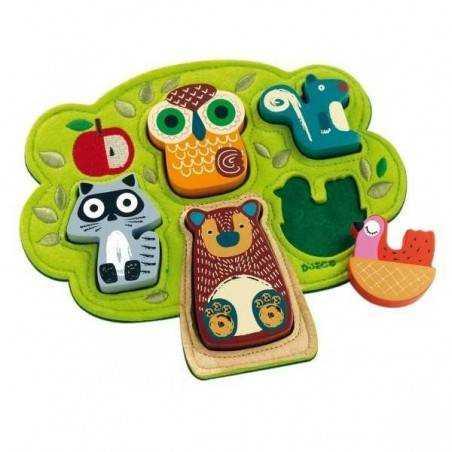 Puzzle in legno OSKI animali e albero in feltro 5 pz. DJECO età +12m DJ01039