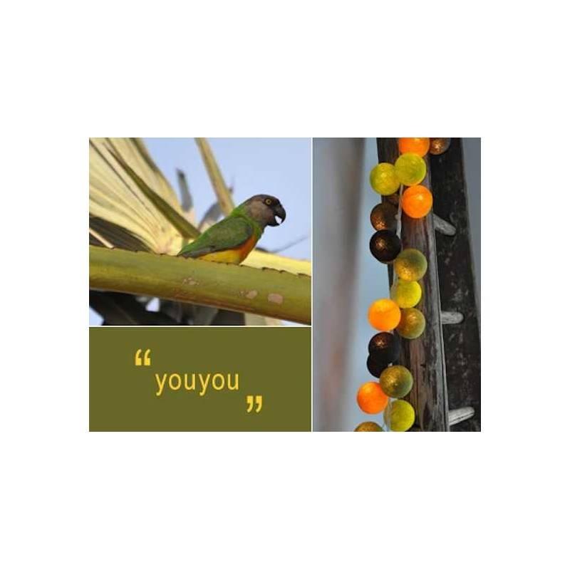LUCI HAPPY LIGHTS YOUYOU fila 20 palline colorate in corda con lampadine spina