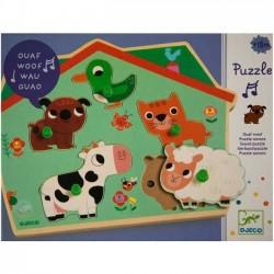 PUZZLE in legno sonoro OUAF WOOF Djeco età 2+ Dj01707 animali della fattoria