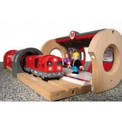 FERROVIA METROPOLITANA treni in legno BRIO trenino 33513 METRO RAILWAY SET