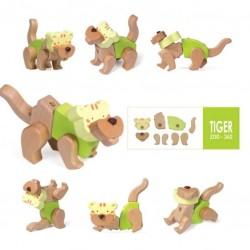 SET DI COSTRUZIONI TIGRE EQB gioco in legno massello a incastro età 3+ 9 pezzi