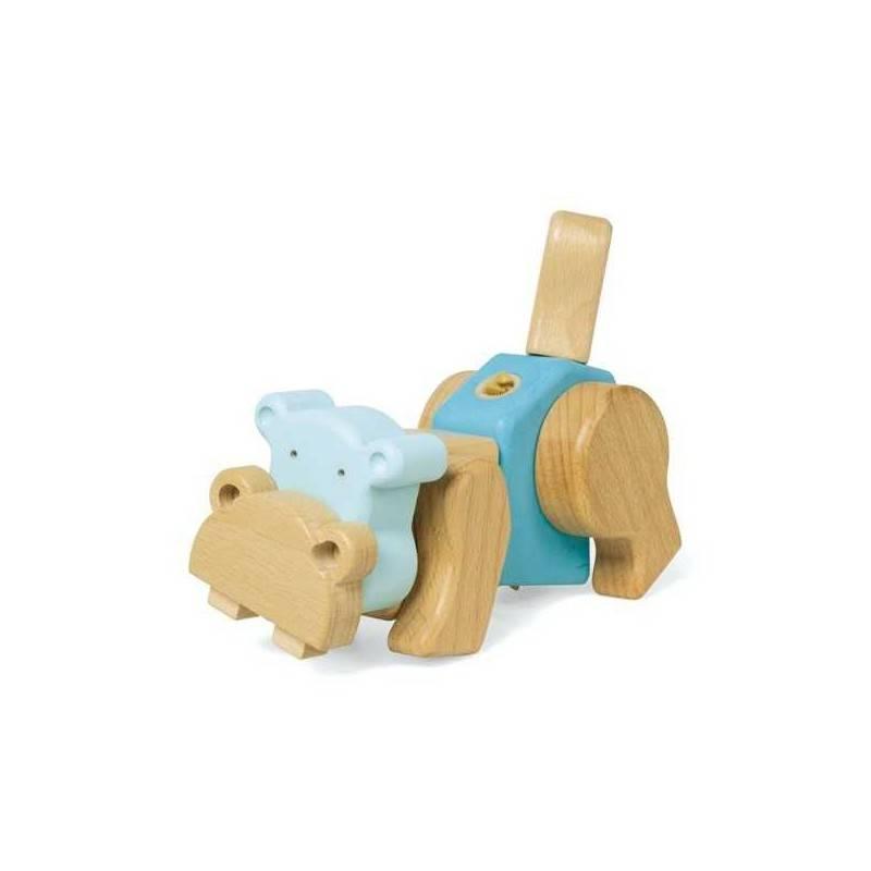 SET DI COSTRUZIONI IPPOPOTAMO EQB gioco legno massello a incastro età 3+ 9 pezzi