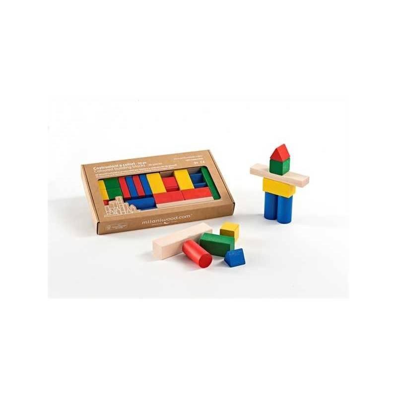 COSTRUZIONI A COLORI 30 PZ gioco in legno MILANIWOOD 100% made in Italy 3+