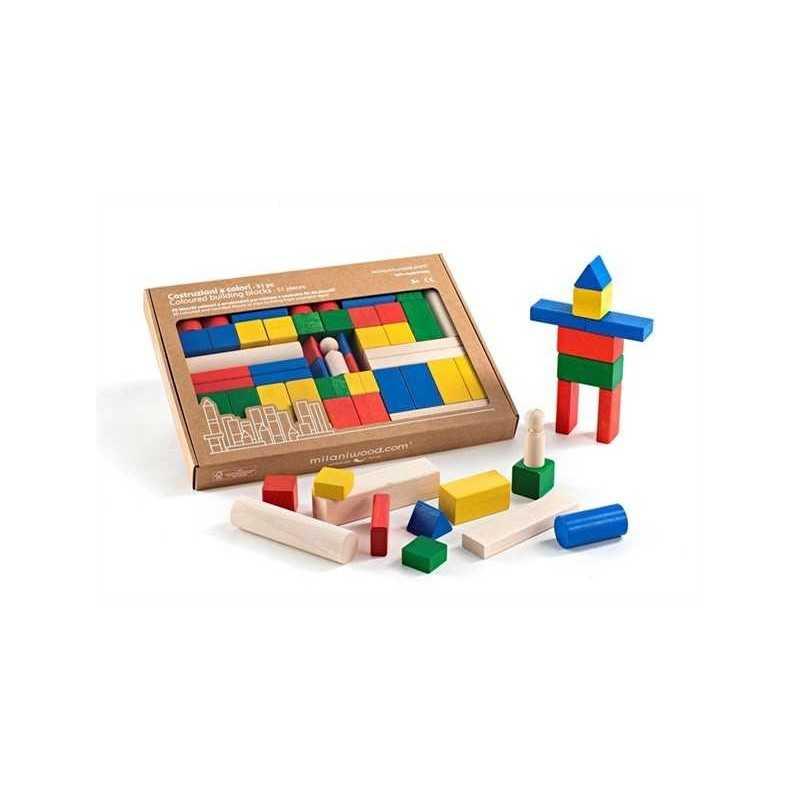 COSTRUZIONI A COLORI 51 PZ gioco in legno MILANIWOOD 100% made in Italy 3+