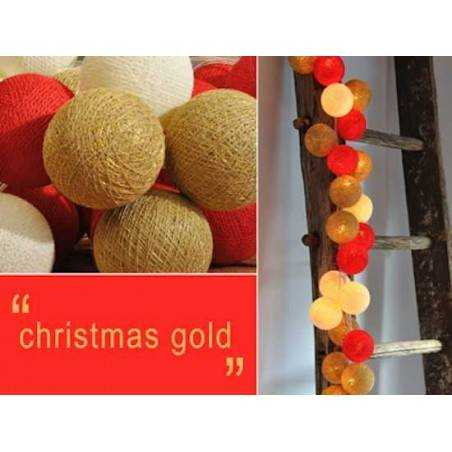 LUCI HAPPY LIGHTS CHRISTMAS GOLD NATALE fila 20 palline colorate in corda con lampadine