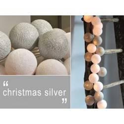 LUCI HAPPY LIGHTS CHRISTMAS SILVER NATALE fila 20 palline colorate in corda con lampadine