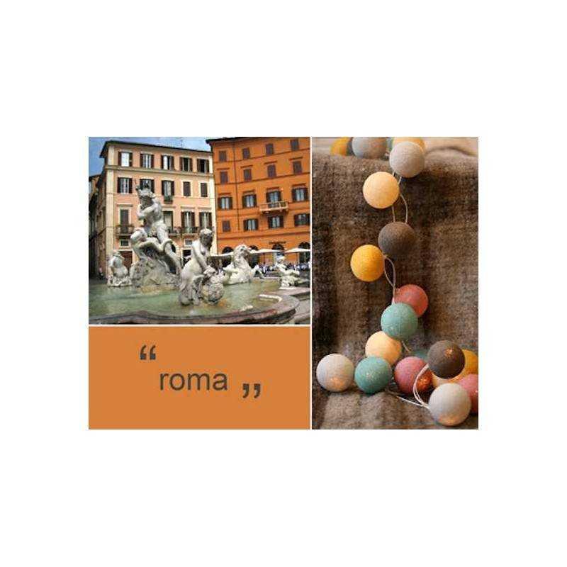 LUCI HAPPY LIGHTS ROMA fila 20 palline colorate in corda con lampadine