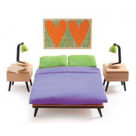 CAMERA MATRIMONIALE casa delle bambole accessorio mobili Djeco DJ07825 Mon petit home