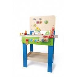 BANCO DA LAVORO MASTER gioco in legno e plastica HAPE 3+ tavolo accessoriato