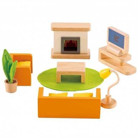MEDIA ROOM SALOTTO STANZA MULTIMEDIALE gioco in legno HAPE età 3+ Happy Family