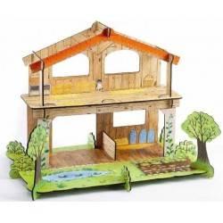COULEUR ferme 3D en carton à construire
