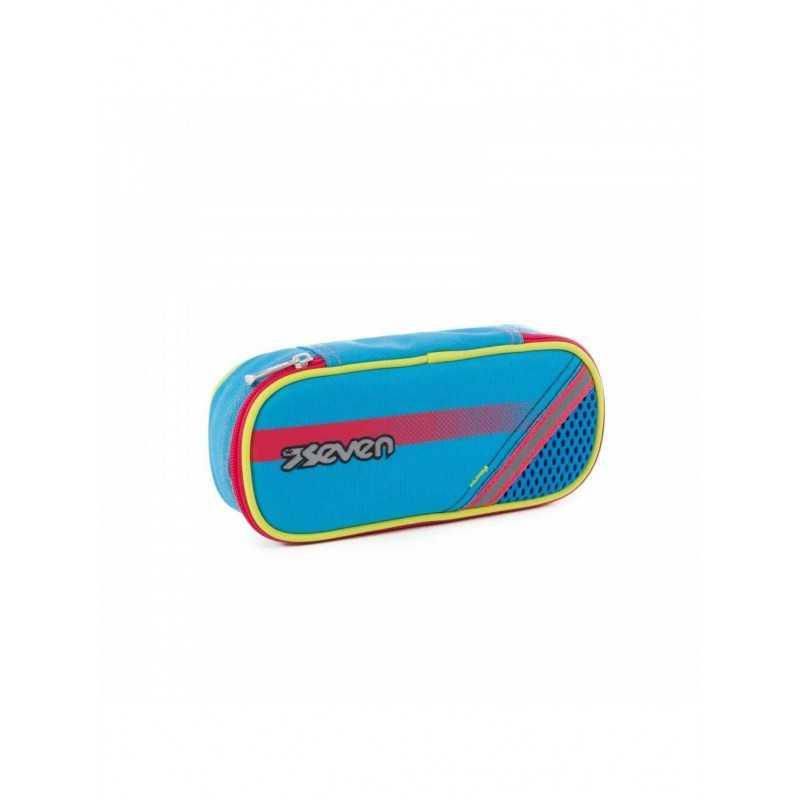 PORTAPENNE ASTUCCIO azzurro FLUO zip SEVEN bustina ROUND PLUS elastici interni
