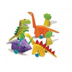 WIND UP DINOSAURS crea dinosauri a molla MOTORI CARICA A MANO kit artistico 4M 5+