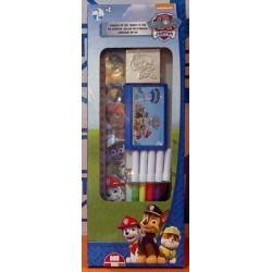 BOX set PAW PATROL Multiprint 4 PENNARELLI 2 TIMBRI 1 TAMPONE 1 RIGHELLO kit