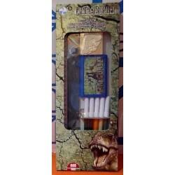 BOX set DINOSAURI timbra e colora 4 PENNARELLI 2 TIMBRI 1 TAMPONE 1 RIGHELLO kit