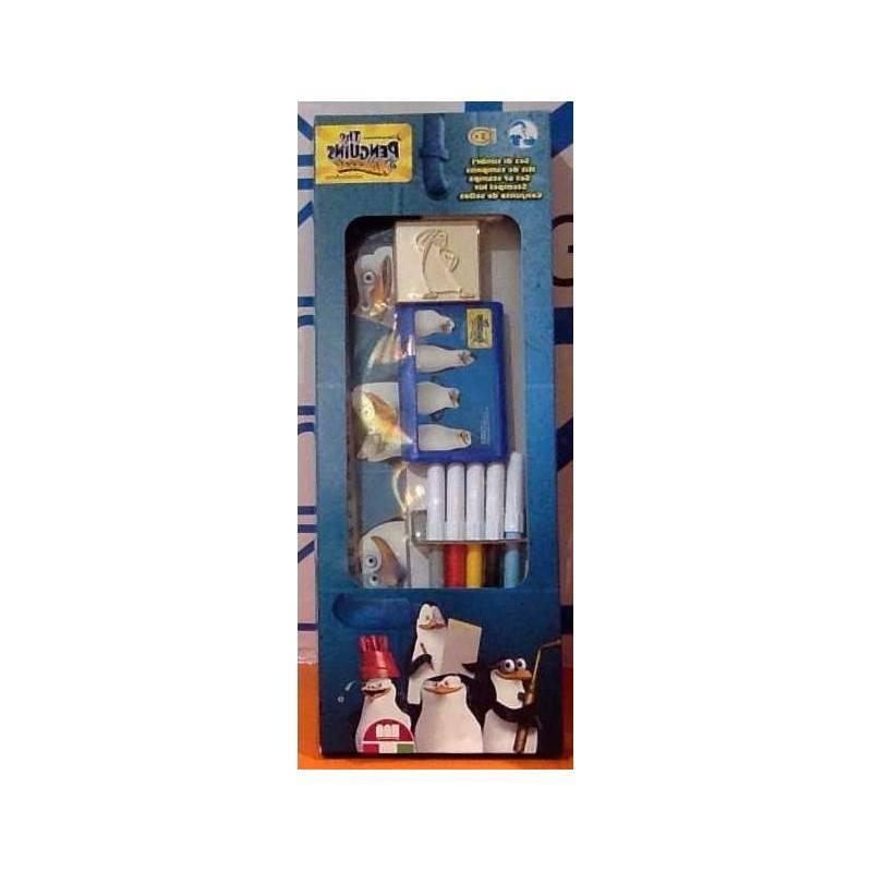 BOX set PENGUINS timbra e colora PENNARELLI TIMBRI TAMPONE RIGA kit MADAGASCAR