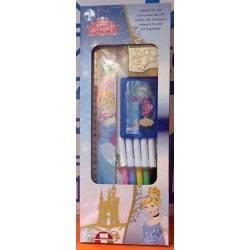 BOX set PRINCESS timbra e colora 4 PENNARELLI 2 TIMBRI 1 TAMPONE 1 RIGHELLO kit