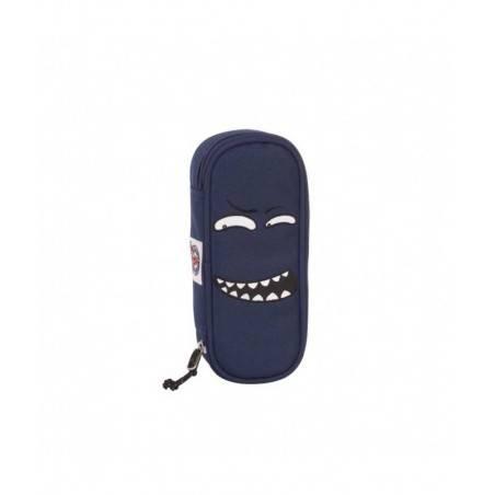 PORTAPENNE ASTUCCIO zip ROUND FACE busta INVICTA lip PENCIL BAG facce BLU