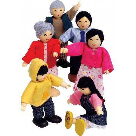 FAMIGLIA FELICE ASIATICA in legno accessorio casa bambole HAPE Happy Family