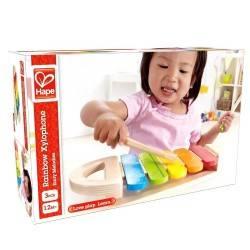 XILOFONO ARCOBALENO strumento in legno per bambini età 12 mesi + HAPE Xylophone