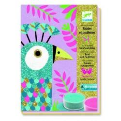 Sabbie colorate e glitter UCCELLI LUCCICANTI Djeco età 6-11 anni KIT ARTISTICI PER BAMBINI DJ08663